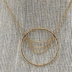 Gold tone Circular Pendant Necklace